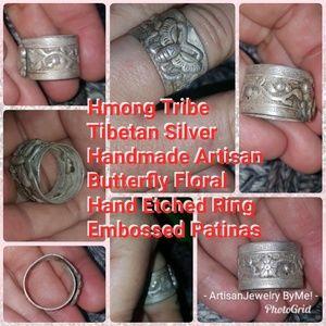 HandmadeButterfly Floral TibetSilver Embossed Ring